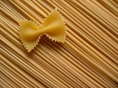 stock photo of italian food  - pasta bow on spaghetti - JPG