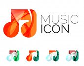 Set of abstract music note icon, business logotype concepts, clean modern geometric design. Created  poster