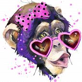 Постер, плакат: Cool monkey T shirt graphics monkey chimpanzee illustration with splash watercolor textured backgro