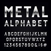 Metal Alphabet Vector Font. poster