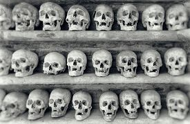 image of eye-sockets  - Human skulls found inside a Christian catacomb. ** Note: Visible grain at 100%, best at smaller sizes - JPG