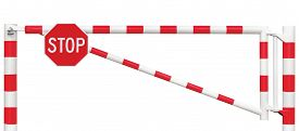 stock photo of gate  - Gated Road Barrier Closeup Octagonal Stop Sign Roadway Gate Bar In Bright White And Red Traffic Entry Stop Block And Vehicle Security Point Gateway Gated Isolated Closed Way Entrance Checkpoint Halt Octagon Roadsign Signage Warning Symbol Restricted Area - JPG