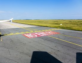 pic of no entry  - no entry sign at the runway at Charles de Gaulle - JPG