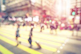 pic of marsala  - Blurred defocused abstract background of people walking on zebra crossing with vintage marsala filter  - JPG