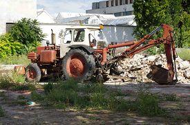picture of backhoe  - Backhoe loader vintage work place building theme - JPG