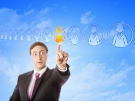 foto of lineup  - Human resources manager picking one individual worker in an all - JPG