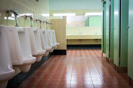 foto of urinate  - row white urinals in men - JPG