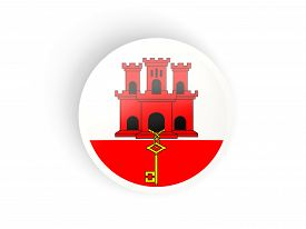 picture of gibraltar  - Round sticker with flag of gibraltar isolated on white - JPG
