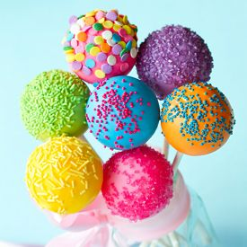 stock photo of cake pop  - Colorful cake pops tied with a ribbon - JPG