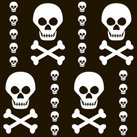 foto of skull crossbones  - Seamless Halloween black and white pattern of skulls with crossbones - JPG