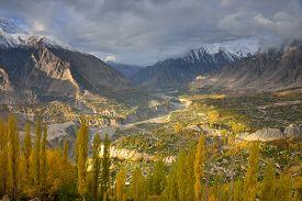 image of karakoram  - Beautiful Landscape of Hunza Valley in Autumn season - JPG