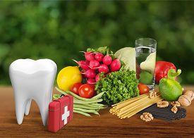stock photo of three dimensional shape  - Dental Hygiene Human Teeth Symbol Service Three - JPG