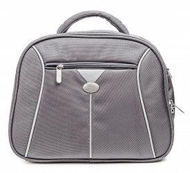 picture of nylons  - Grey nylon handbag isolated on a white background - JPG