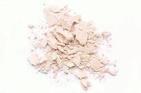 image of face-powder  - crushed face powder isolated over white background - JPG