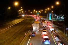 foto of prospectus  - Night traffic jam in Moscow - JPG