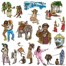 pic of freehand drawing  - UNITED COLORS OF HUMAN RACE People around the World  - JPG