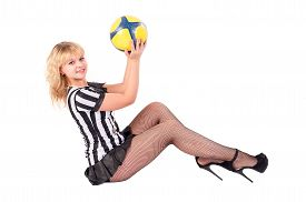 picture of referee  - Beautiful Smiling Soccer Referee sits on floor and plays with ball - JPG