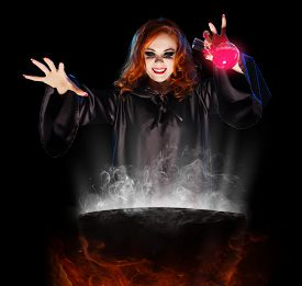 image of cauldron  - Young witch with potion and cauldron isolated - JPG