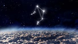 stock photo of zodiac sign  - the zodiac sign of the beautiful bright stars on the background night sky - JPG