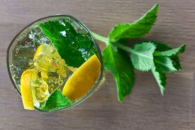 foto of peppermint  - cocktail with lemon ice and peppermint leaves - JPG