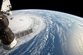 Hurricane Harvey Fom Space Station. Elements Of This Image Are Furnished By Nasa poster