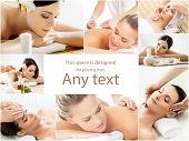 Women getting spa treatment. Health, medicine and recreation collage. Healing and massaging concept. poster