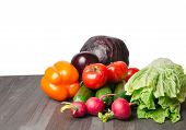 Vegetables On A Table Isolated On A White Background . poster