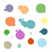 Vector Set Of Colorful Ink Splash, Blots And Brush Strokes, Isolated On The White Background. Series poster