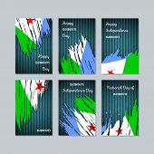 Постер, плакат: Djibouti Patriotic Cards For National Day Expressive Brush Stroke In National Flag Colors On Dark S
