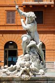The Fountain of Neptune at Piazza Navona in central Rome poster