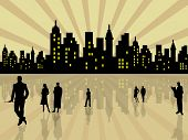 stock photo of city silhouette  - Stylized city with people silhouettes - JPG