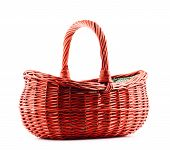 Empty Wicker Basket Isolated On White poster