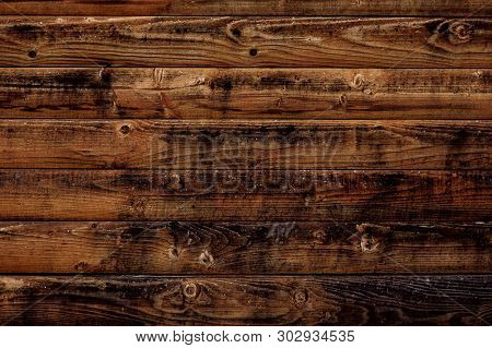 poster of Old Wood Texture Background. Dark Brown Wooden Boards, Planks. Surface Of Dark Shabby Weathered Parq