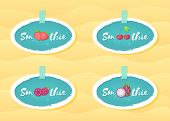 Blue Sticker Smoothie Fruit Set Vector Illustration. Natural Fruit With Smoothie Sign In White Frame poster