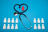 Heart Health Concept, Cardiology. Medical Patient. Blue Background poster