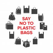 Say No To Plastic Bags Circle Template With Flat Glyph Icons. Zero Waste Vector Illustration For Pos poster