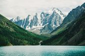 Wonderful Giant Snowy Mountains. Creek Flows From Glacier Into Mountain Lake. Shine Water In Highlan poster