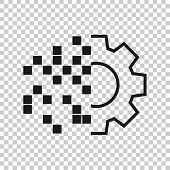 Digital Gear Icon In Transparent Style. Cog Vector Illustration On Isolated Background. Techno Wheel poster