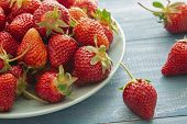 Fresh Strawberries. Strawberry Background. Macro Texture. Big, Big Strawberries. On A Blue Backgroun poster
