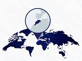 Morocco Detailed Map Highlighted On Blue Rounded World Map. Map Of Morocco In Circle. poster