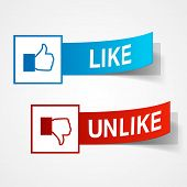 Like and unlike symbols. Thumb up and thumb down signs. Vector eps10 illustration