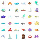 Salty Icons Set. Cartoon Set Of 36 Salty Icons For Web Isolated On White Background poster