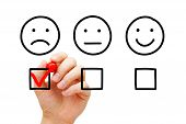 Disappointed Client Leaving Negative Evaluation With Red Marker Check Mark On Customer Feedback Surv poster