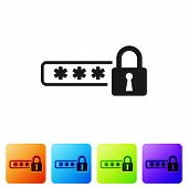 Black Password Protection And Safety Access Icon Isolated On White Background. Lock Icon. Security,  poster