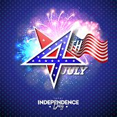 4th Of July Independence Day Of The Usa Vector Illustration With 4 Number In Star Symbol. Fourth Of  poster