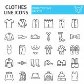 Clothes Line Icon Set, Clothing Symbols Collection, Vector Sketches, Logo Illustrations, Wear Signs  poster