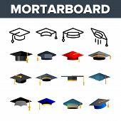 Mortarboard, Academic Cap Vector Color Icons Set. Mortar Board, Education Linear Symbols Pack. Unive poster