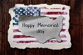 an american flag and the text happy memorial day in a piece of paper in the shape of the map of the  poster