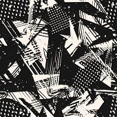 Abstract Monochrome Grunge Seamless Pattern. Urban Art Texture With Paint Splashes, Chaotic Shapes,  poster
