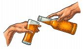 Male Finger Pouring Beer From Bottle Into Glass. The Creation Of Adam. poster